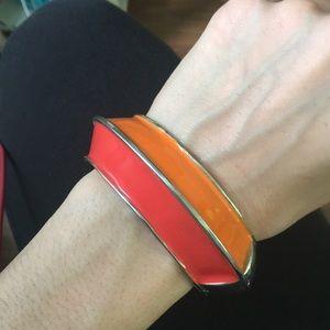 Jewelry - Beautiful enamel two tone coral/orange bracelet
